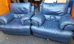 Two used leather armchairs for sale. Items has been