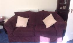 Dark purple/wine velvet sofa & matching arm chair