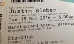 Two tickets for Justin Bieber Purpose World Tour at