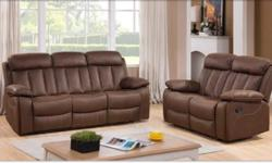 Vancouver Brown Leather Recliner Sofa - 3 & 2 Seater