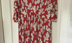 Red floral Dorothy Perkins dress size 18 £3 Black Rocha