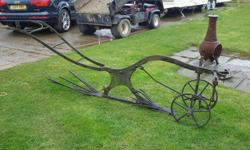 Genuine vintage horse drawn potato rake garden feature