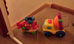 Pull along vtech musical helicopter & cement ball