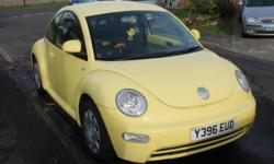 VW Beetle , yellow, full service history, MOT, electric