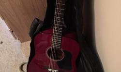 Perfect burgundy acoustic guitar useful for beginners