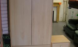 Wardrobe and Matching Bedside Cabinet in Beech Effect