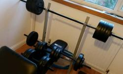 Bench press and preacher curl bench sold with 2
