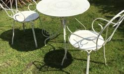 White metal hearts patio set ... Comprises of 2 chairs
