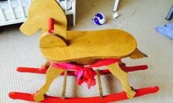 Wooden horse suitable for toddler. 33.5 inches long,