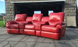 Pristine condition xDFS 3 seat cinema red leather