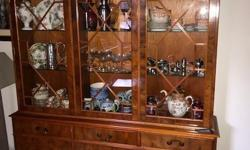 Yew wood display cabinet, glass shelves and battery